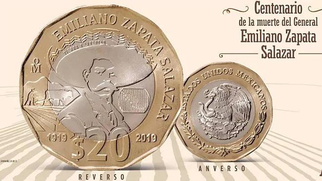 Honran la memoria de Emiliano Zapata Salazar en moneda de 20 pesos