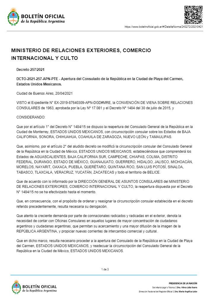 Abrirán consulado de Argentina en Playa del Carmen