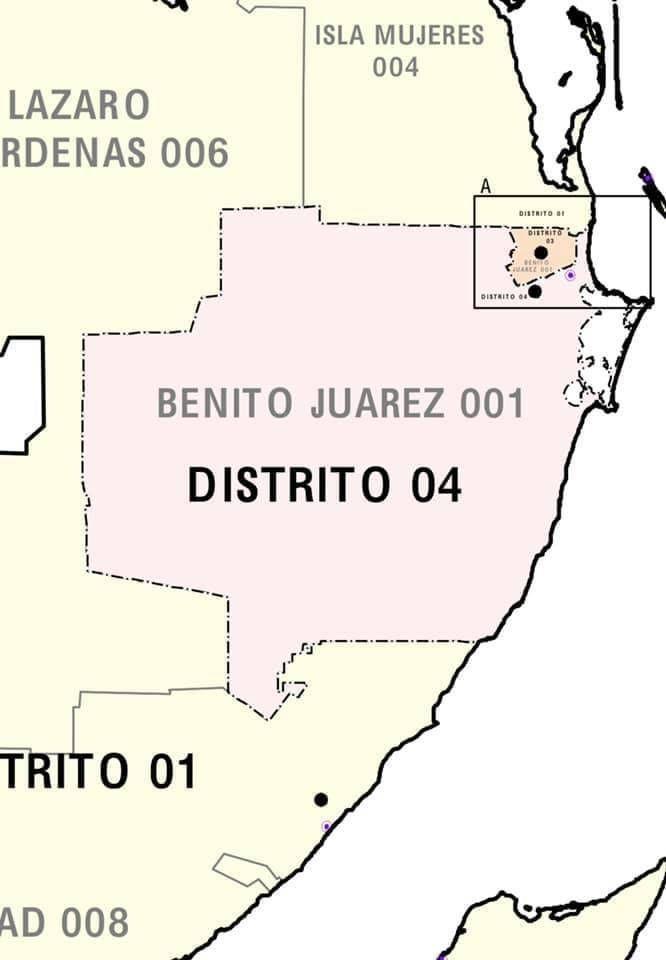 Presentamos los municipios que ubican los 4 distritos federales que conforman Quintana Roo