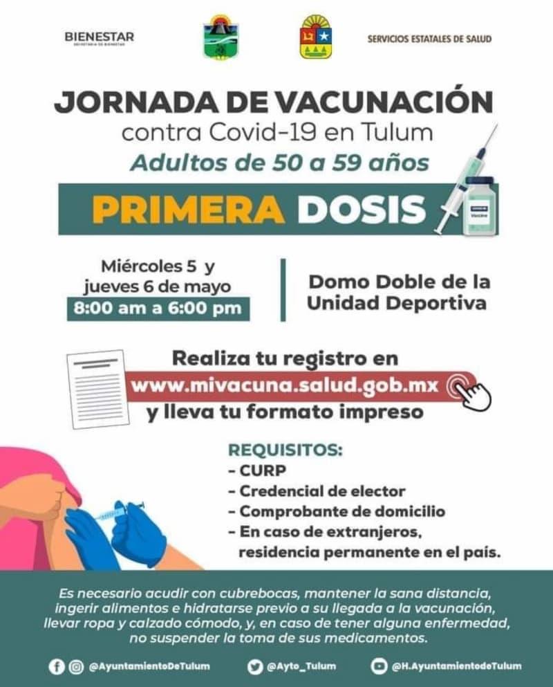 Este miércoles comienza aplicación de vacunas a personas de 50 a 59 en Tulum