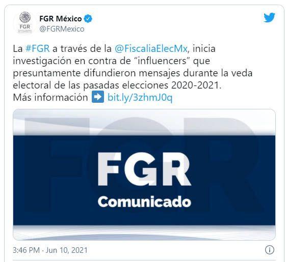 Inicia FGR investigación contra influencers por mensajes durante veda electoral