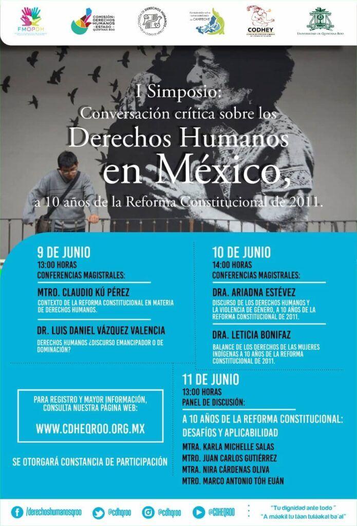Se unen a Quintana Roo Comisiones de Campeche, Yucatán y CDMX en Simposio, para conmemorar 10 años de la Reforma Constitucional en Derechos Humanos