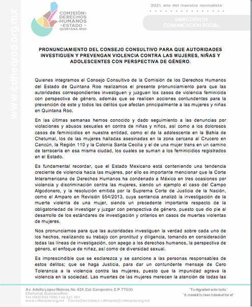 Pide Pide Consejo de Derechos Humanos en Quintana Roo se investiguen casos de feminicidios con perspectiva de género