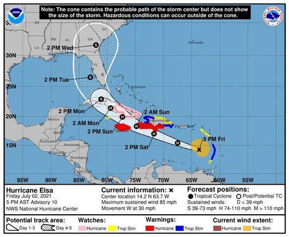 """Huracán """"Elsa"""" se mueve a través del mar Caribe hacia Cuba"""