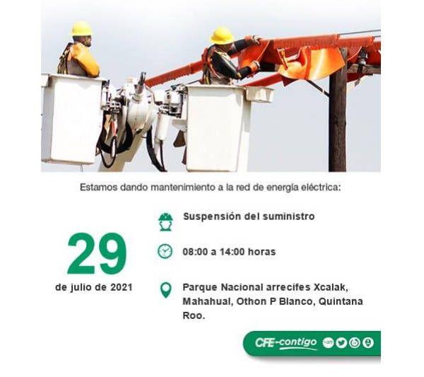Suspenderá CFE suministro de energía en Mahahual el próximo jueves