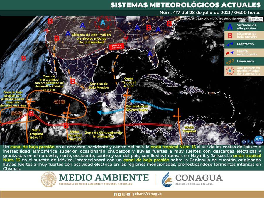 Onda tropical 16 originará lluvias fuertes en la Península de Yucatán