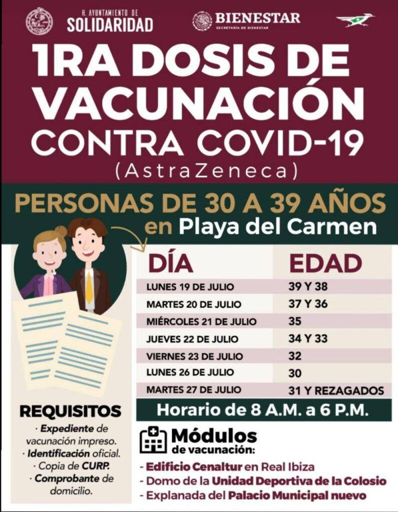 Este lunes inicia vacunación para mayores de 30 en Playa del Carmen