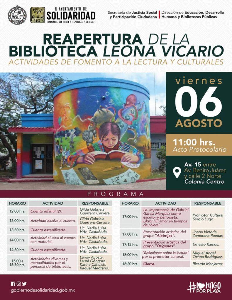 Invitan a la reapertura de la Biblioteca Leona Vicario