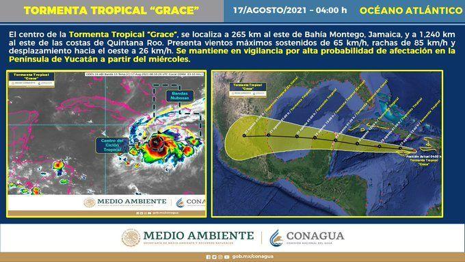 Tormenta tropical Grace se dirige a la Península de Yucatán