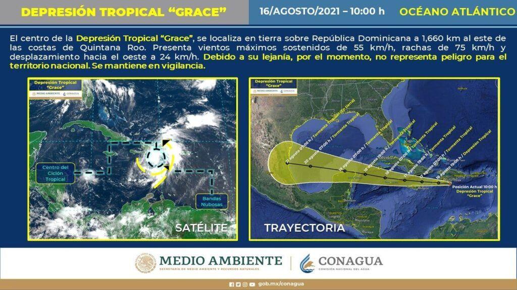 Depresión Tropical Grace se ubica a 1,660 km de Quintana Roo