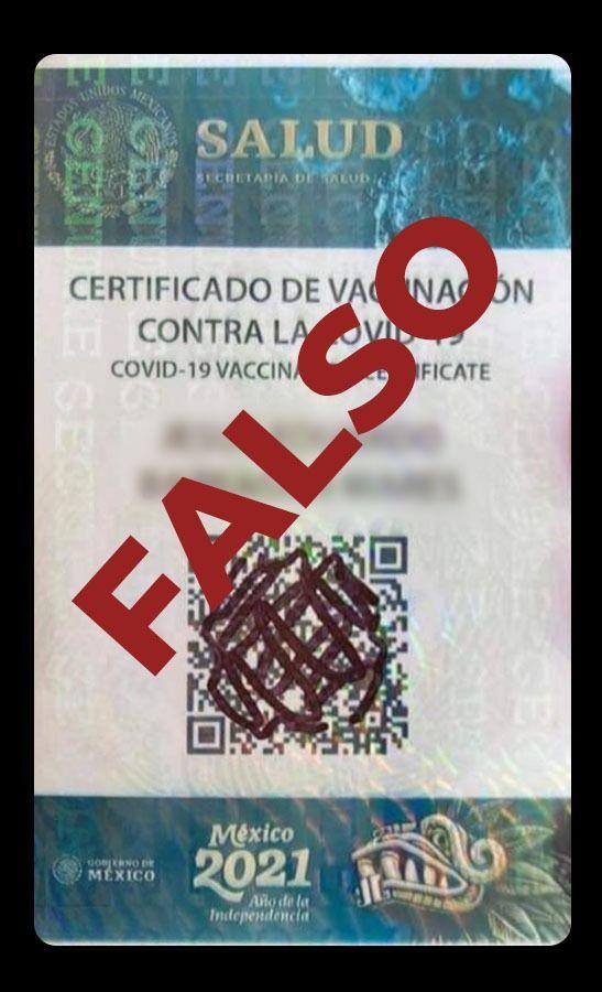 Alertan por tarjeta falsa de vacunación anticovid