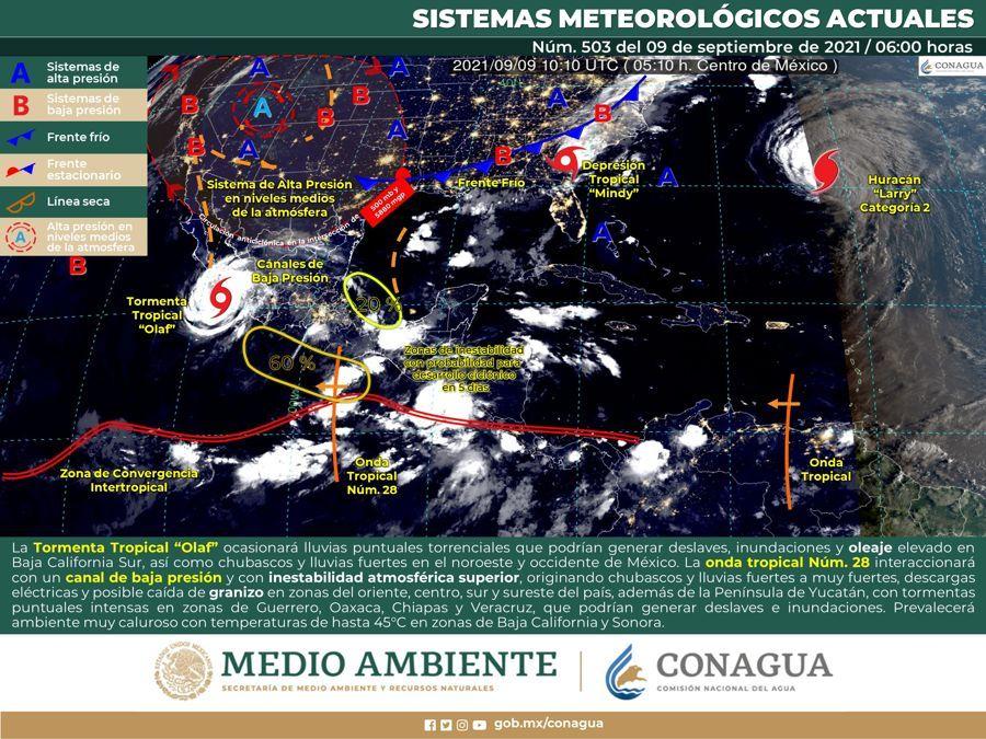 Canal de baja presión originará lluvias en la Península de Yucatán