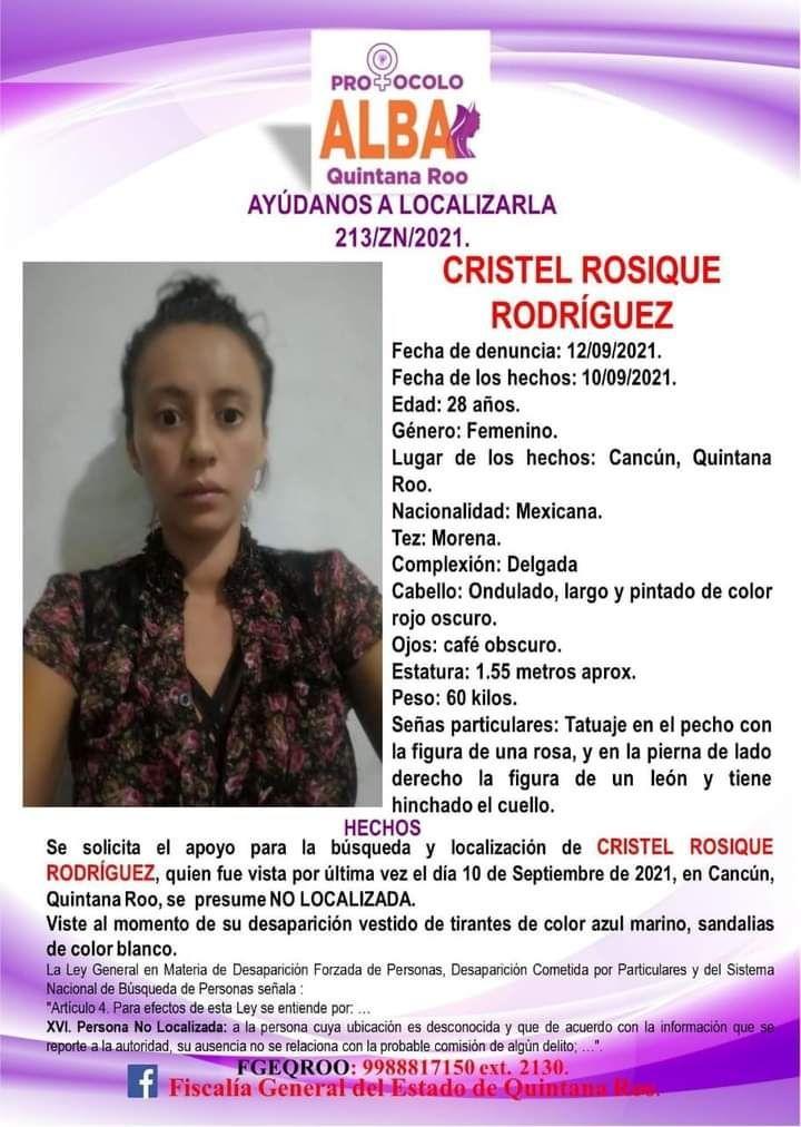 Solicitan apoyo para localizar a Cristel Rosique