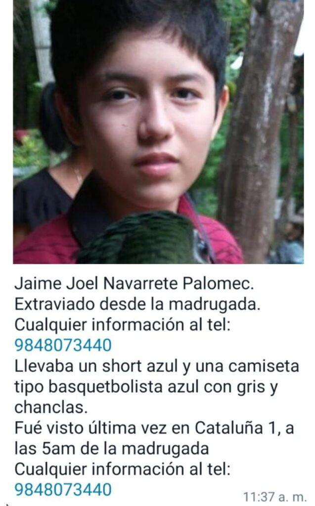 Solicitan ayuda para localizar a Jaime Joel Navarrete Palomec