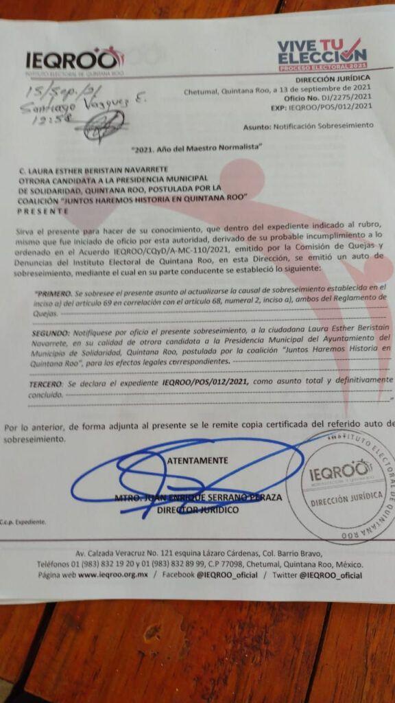 Descarta Ieqroo queja contra Laura Beristain