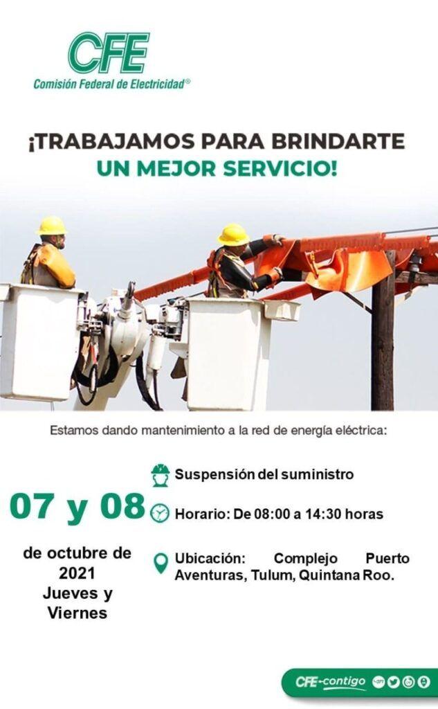 Suspenderá CFE suministro eléctrico este viernes