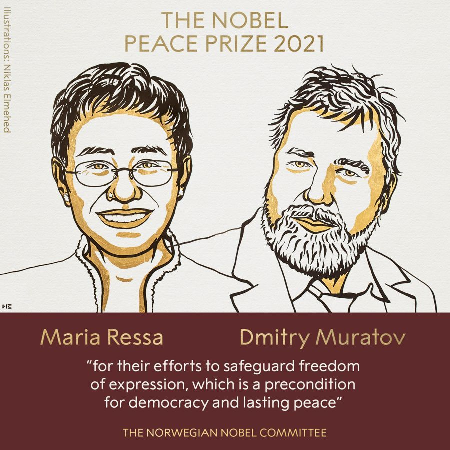 Nobel de la Paz a periodistas defensores de la libertad de expresión