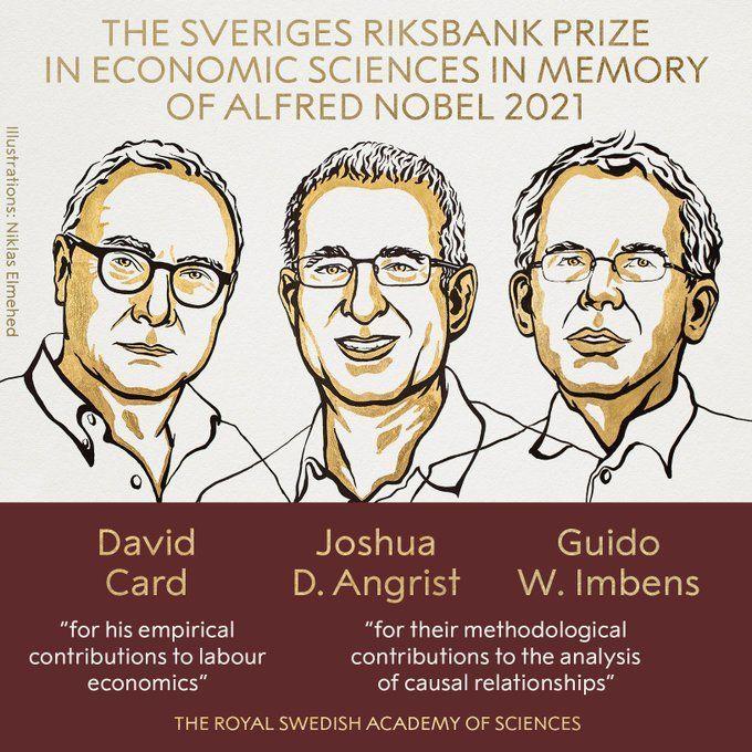 David Card, Joshua Angrist y Guido Imbens ganan premio Nobel de Economía